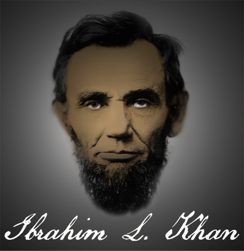 Illustration titled Ibrahim L Khan by Artist Indian Taker - Shows a brown-skinned Abraham Lincoln to highlight whitewashing and history's innaccuracies