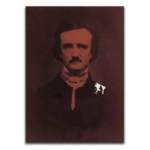 That Bloody Raven! Canvas Wall Art by Indian Taker - an image of Edgar Allan Poe with bird poop on his shoulder