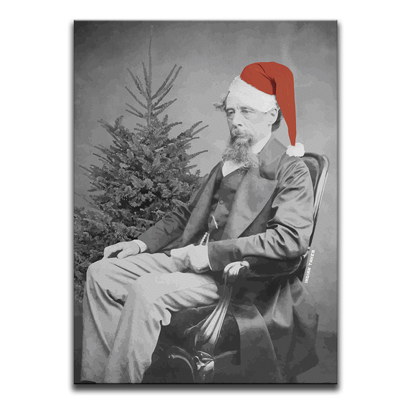 Oh! The Joys Of Christmas Canvas Wall Art by Indian Taker - an image of Charles Dickens wearing a Santa hat in front of a bare Christmas Tree