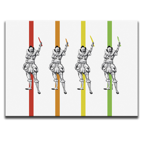 Clowns With Knives Canvas Wall Art by Indian Taker