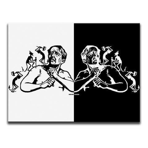 Devilish Aches Black And White Canvas Wall Art by Indian Taker