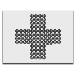Indian Taker Skulls When They're Cross White Canvas Wall Art