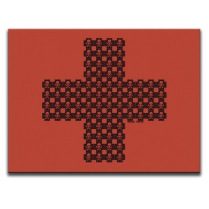 Indian Taker Skulls When They're Cross Red Canvas Wall Art