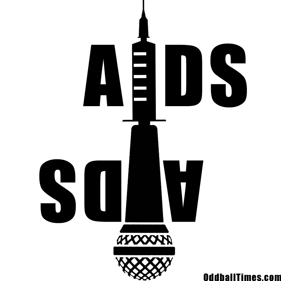 A parody logo for AIDS aids with a microphone and syringe